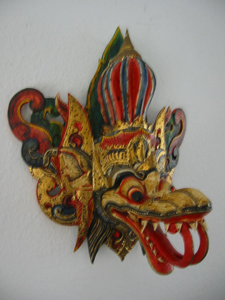 Ceremonial Mask Hand Carved Painted Gilt Decorated Bold Colors
