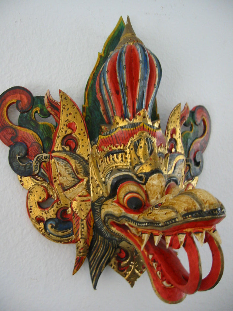 Asian Mask Hand Painted Wood Carving Colorful Gilt Decorated Tribal Art - Designer Unique Finds   - 1