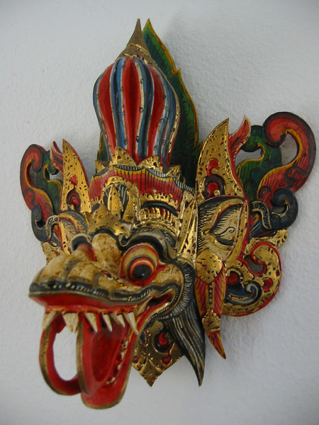 Asian Mask Hand Painted Wood Carving Colorful Gilt Decorated Tribal Art - Designer Unique Finds   - 4