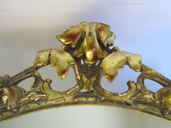 Baroque Ormolu Mirror Ruffled Floral Crest Brass Scrolled - Designer Unique Finds   - 2