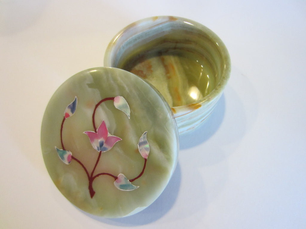 Pietra Dura Inlaid Flowers Decorative Green Round Marble Box - Designer Unique Finds