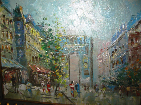 Paris City View Oil On Canvas Signed By Artist - Designer Unique Finds   - 4