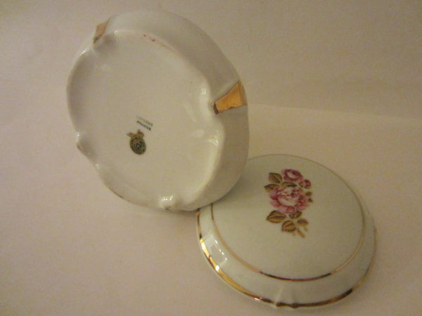 Limoges France Porcelain Box Rose Medallion Gilt Rim - Designer Unique Finds   - 2