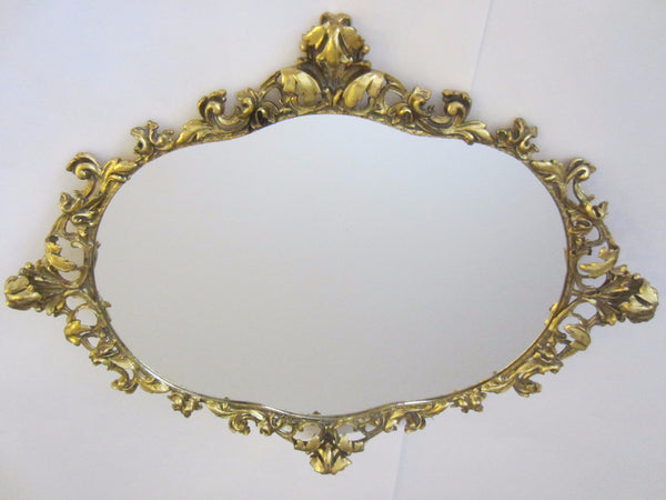 Baroque Ormolu Mirror Ruffled Floral Crest Brass Scrolled - Designer Unique Finds   - 1
