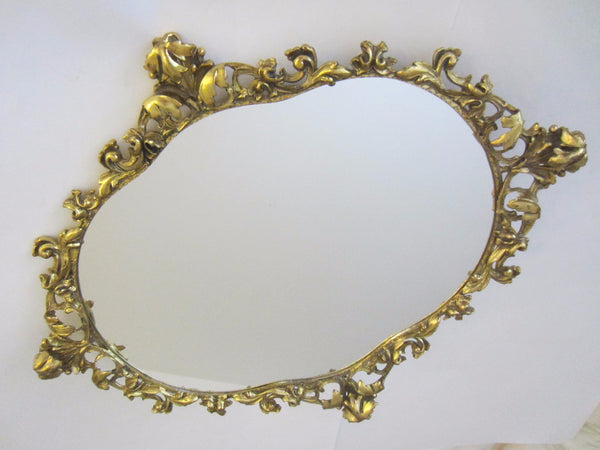 Baroque Ormolu Mirror Ruffled Floral Crest Brass Scrolled - Designer Unique Finds   - 3