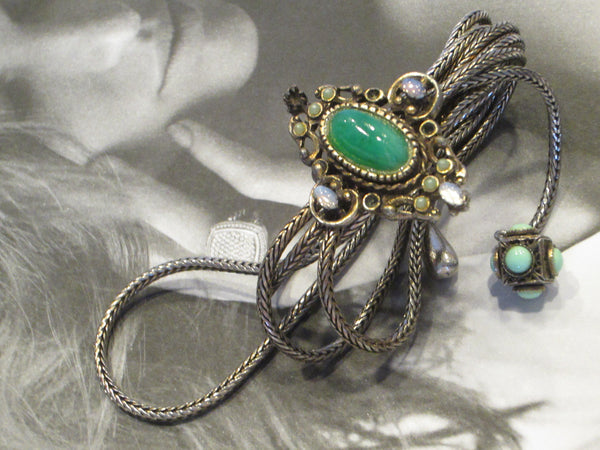 Victorian Book Piece Bracelet Green Jade Filigree Strands Turqoise Charm Opals - Designer Unique Finds   - 3