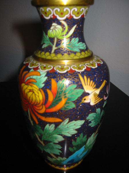 Chinese Cloisonne Vase Orange Blossom Floral Enameling - Designer Unique Finds   - 3