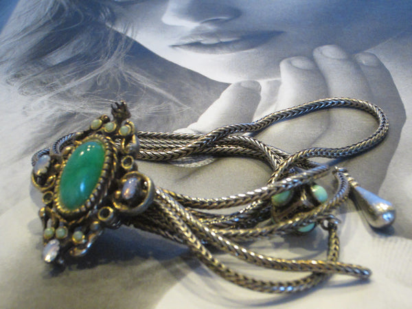 Victorian Book Piece Bracelet Green Jade Filigree Strands Turqoise Charm Opals - Designer Unique Finds   - 2
