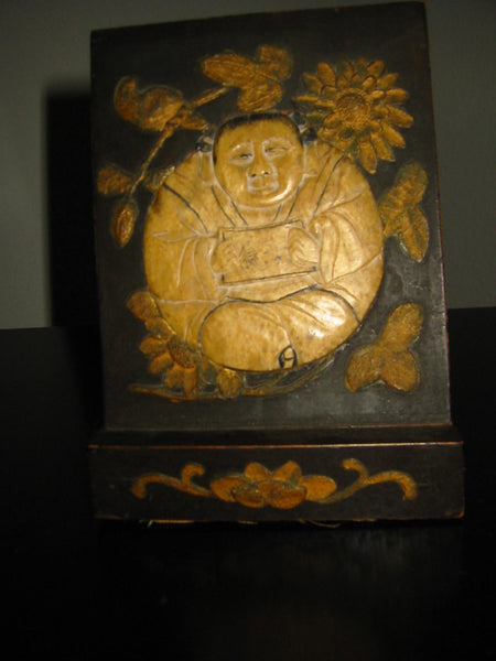 Chinese Stone Buddha Icon Wood Carving Floral Decoration - Designer Unique Finds   - 2