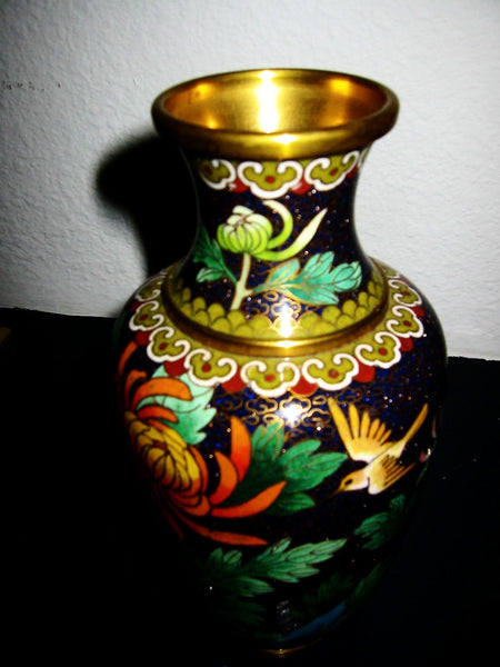 Chinese Cloisonne Vase Orange Blossom Floral Enameling - Designer Unique Finds   - 1