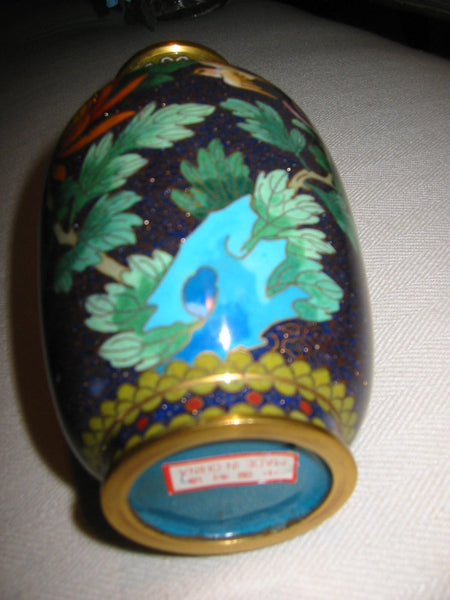 Chinese Cloisonne Vase Orange Blossom Floral Enameling - Designer Unique Finds   - 2