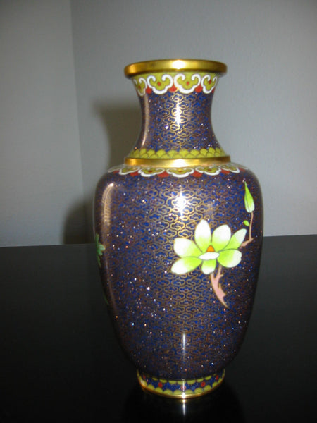 Chinese Cloisonne Vase Orange Blossom Floral Enameling - Designer Unique Finds   - 4