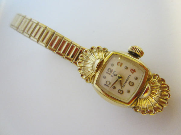 Elgin Speidel Seashell Bracelet Watch Hand Wind Gold Plated Patented
