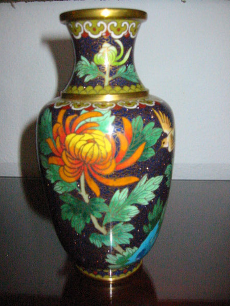 Chinese Cloisonne Vase Orange Blossom Floral Enameling - Designer Unique Finds   - 5