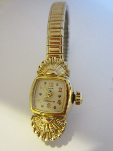 Elgin Speidel Seashell Bracelet Watch Hand Wind Gold Plated Patented - Designer Unique Finds