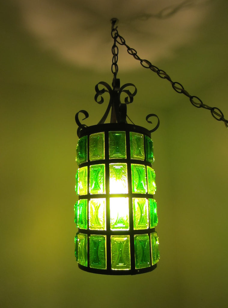 Pendant Ceiling Lantern Bright Light Green Lucite Shades Metal Scrolled Frame - Designer Unique Finds   - 1