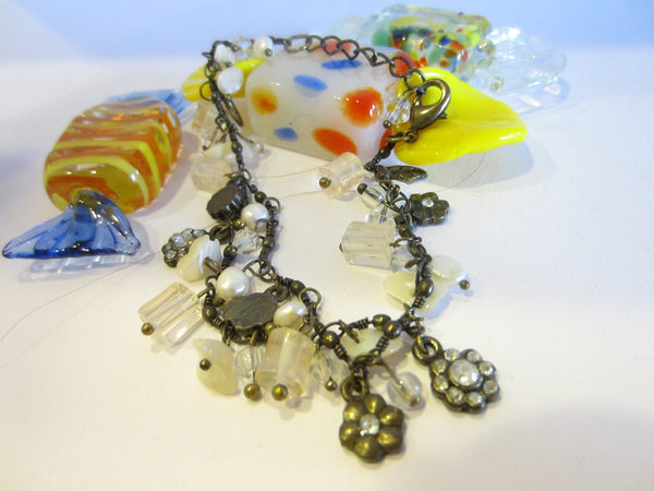 Charm Bracelet Flower Fresh Water Pearls Rhinestones Beads - Designer Unique Finds   - 1