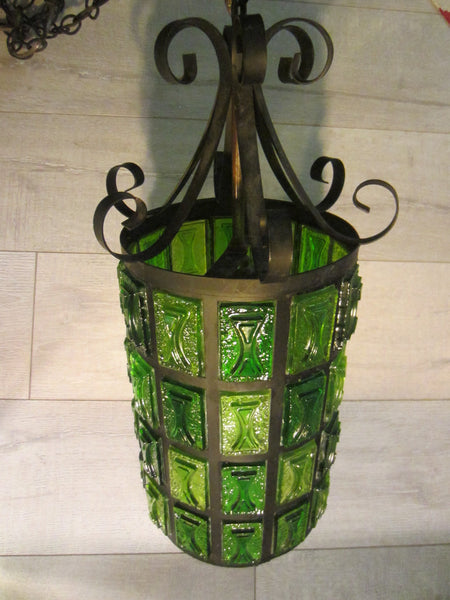 Pendant Ceiling Lantern Bright Light Green Lucite Shades Metal Scrolled Frame - Designer Unique Finds   - 4