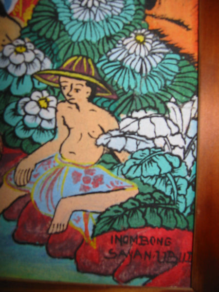 Impressionist Daily Life of Ubud Bali Villagers Signed Inombong Sayan - Designer Unique Finds