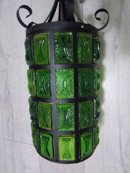 Mid Century Modern Pendant Ceiling Light Lantern Style Green Lucite  Metal Scrolled - Designer Unique Finds
