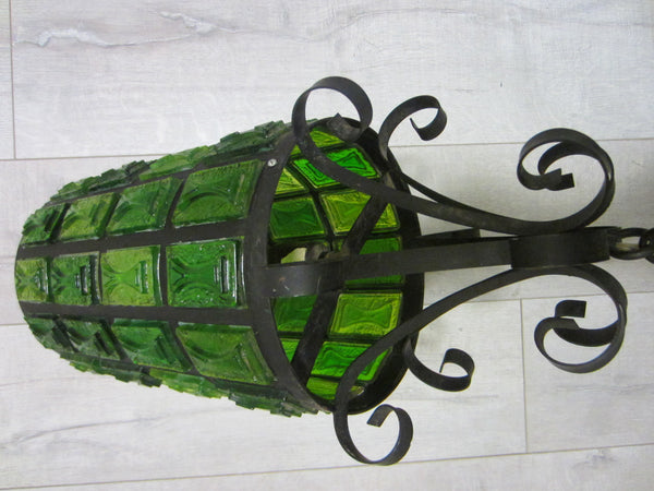 Pendant Ceiling Lantern Bright Light Green Lucite Shades Metal Scrolled Frame - Designer Unique Finds   - 3