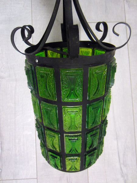 Mid Century Modern Pendant Ceiling Light Lantern Style Green Lucite  Metal Scrolled