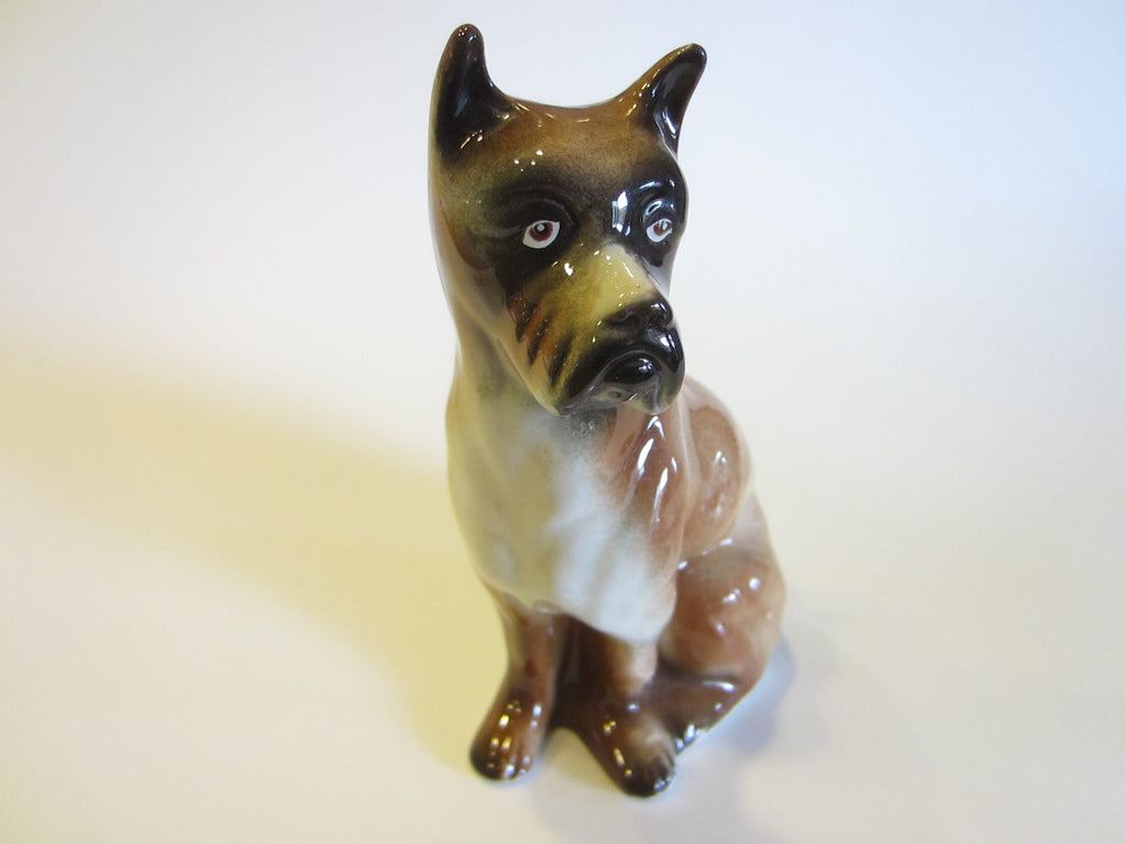 Ceramic Brown Boxer Dog Figurative Signature Art