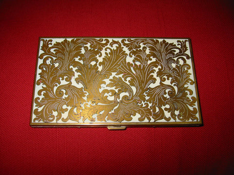 Volupte Mid Century White Enamel Floral Brass Card Case - Designer Unique Finds   - 1