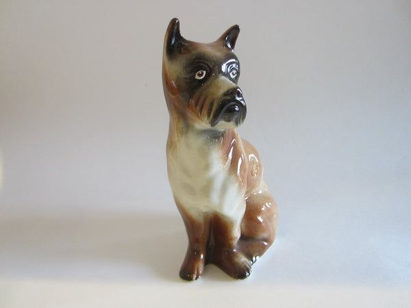 Ceramic Brown Boxer Dog Figurative Signature Art - Designer Unique Finds