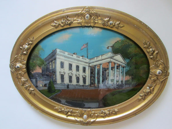 The White House Washington DC Reverse Glass Painting - Designer Unique Finds