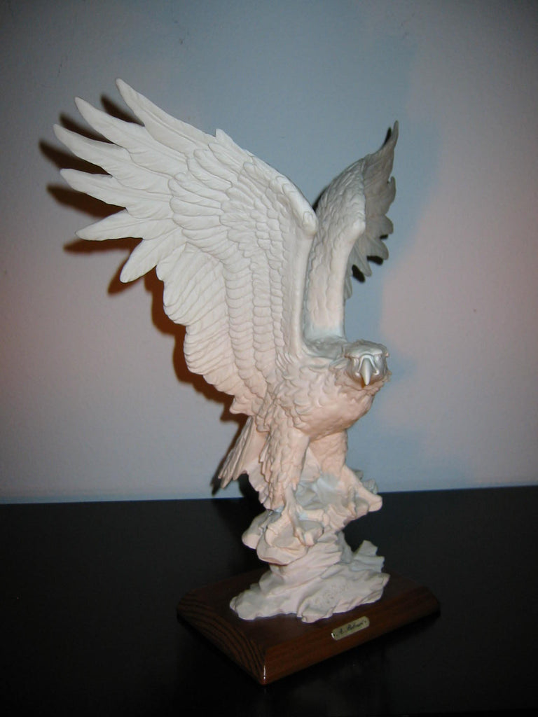 Italy A Belcari Bald Eagle Chalk Ware White Sculpture Mahogany Base - Designer Unique Finds