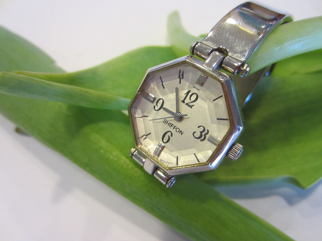 Chiffon Wrist Watch Octagonal Design Stainless Steel - Designer Unique Finds