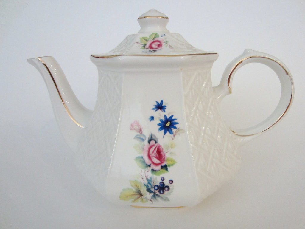 Sadler Windsor England White Porcelain Floral Teapot - Designer Unique Finds