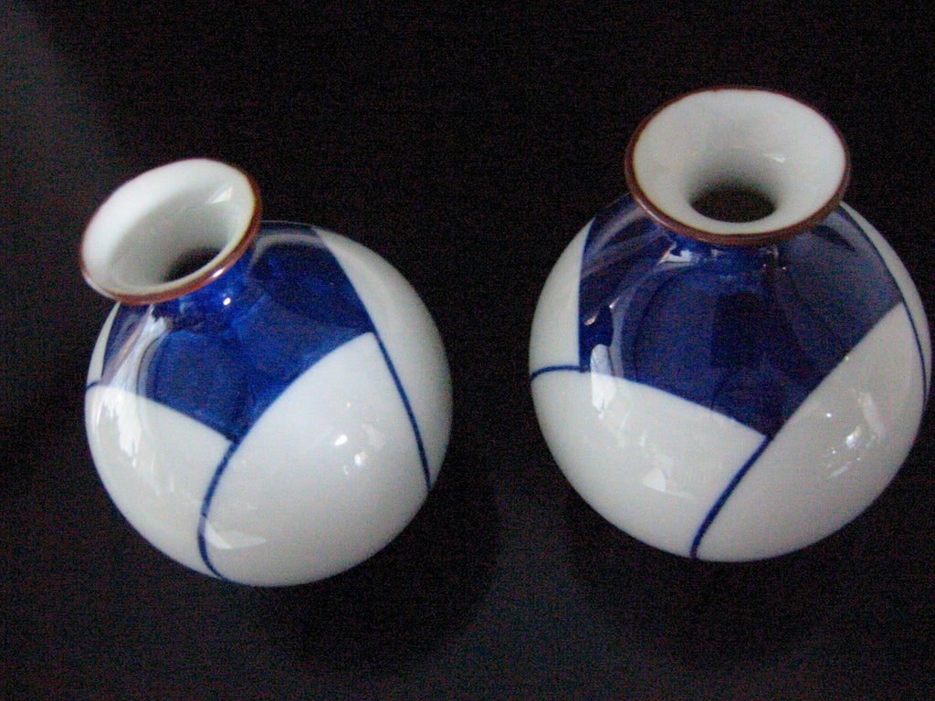 Porcelain Vases Art Deco Blue White Asian Geometric Design - Designer Unique Finds