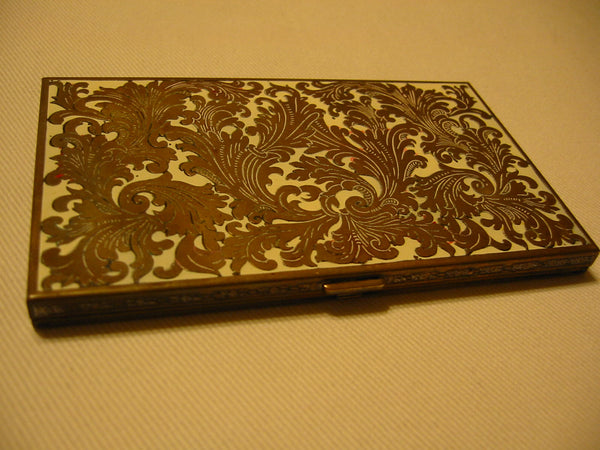 Volupte Mid Century White Enamel Floral Brass Card Case - Designer Unique Finds   - 7
