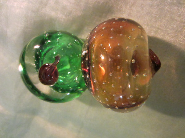 Osewego Country Store Green And Gold Glass Fruits Paperweights Controlled Bubbles - Designer Unique Finds