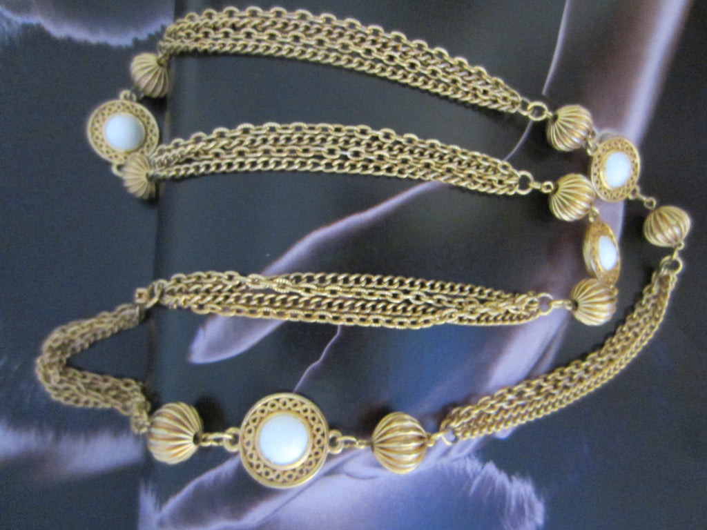 White Summer Milk Glass Beads Golden Link Chain Necklace - Designer Unique Finds