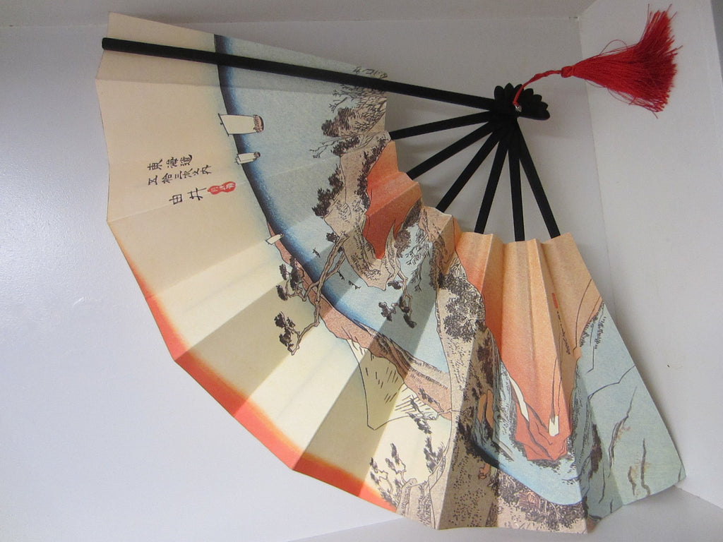 Oriental Paper Fan Japanese Mountain Asian Red Tassel Calligraphy Signature - Designer Unique Finds