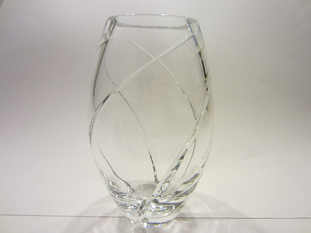 Tiffany Hand Cut Crystal Elliptical Vase - Designer Unique Finds