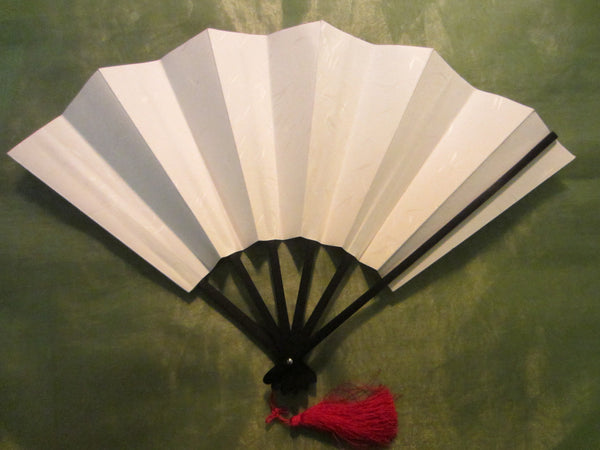 Asian Accordion Fan Red Tassel Calligraphy - Designer Unique Finds   - 3