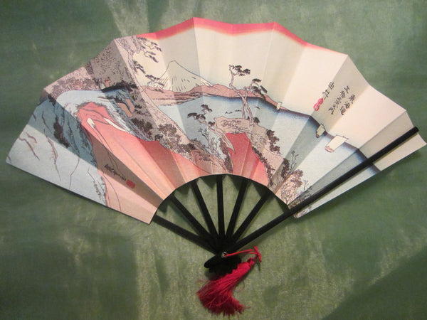 Asian Accordion Fan Red Tassel Calligraphy - Designer Unique Finds   - 1