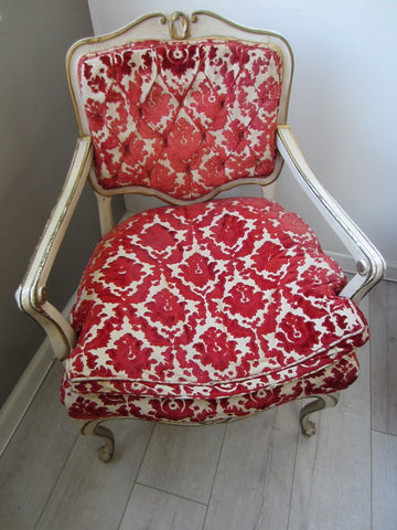 French Hibriten Arm Chair Floral Fabric Gilt Decoration - Designer Unique Finds   - 1