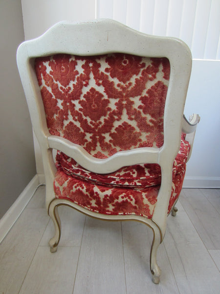 French Hibriten Arm Chair Floral Fabric Gilt Decoration - Designer Unique Finds   - 6