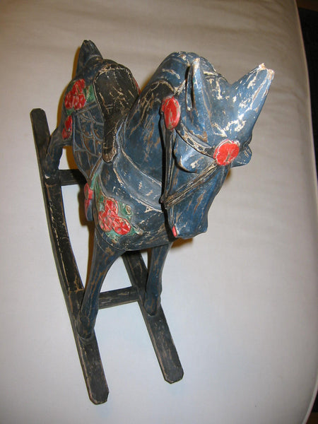 Equestrian Wood Rocking Horse Inspiring Christmas Hand Painted Floral - Designer Unique Finds   - 5