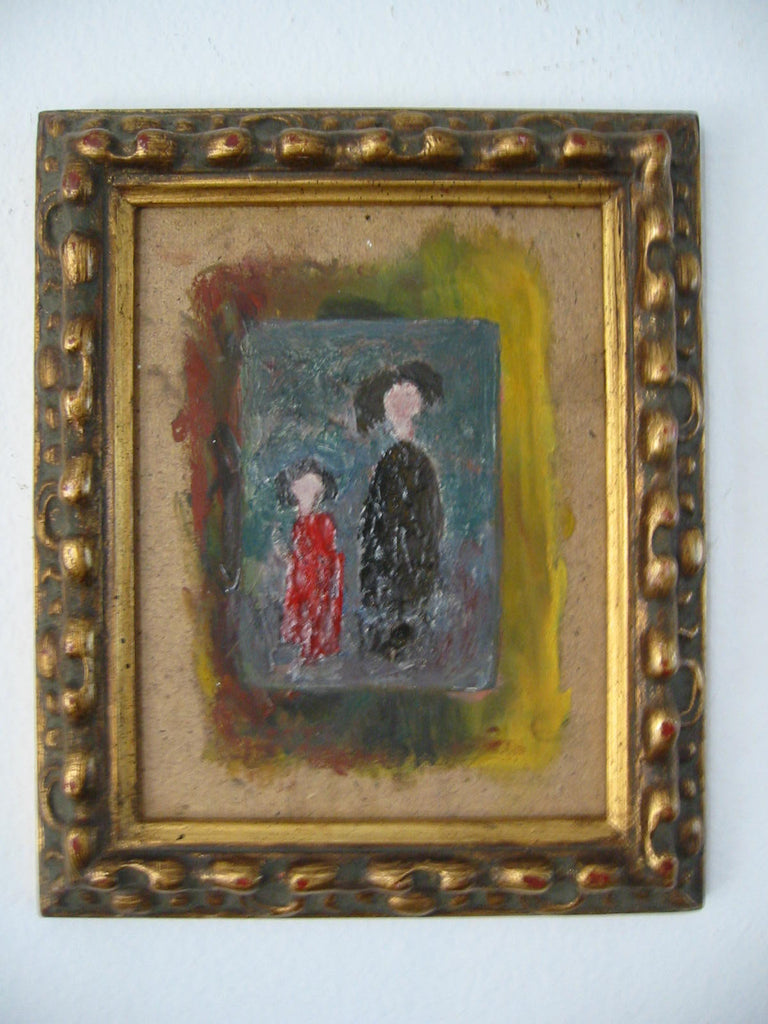 Portrait Painting Surealist On Board Woman Child Artist Roky Roka - Designer Unique Finds