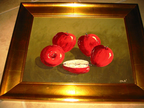 Ole Red Apples Still Life Oil On Canvas Contemporary Gilt Wood Frame - Designer Unique Finds