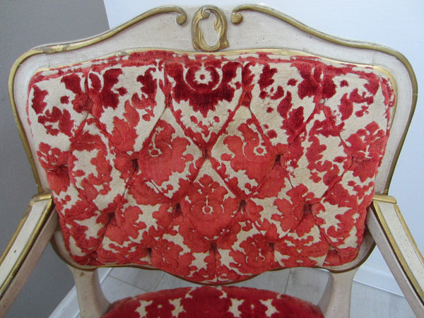 French Hibriten Arm Chair Floral Fabric Gilt Decoration - Designer Unique Finds   - 3
