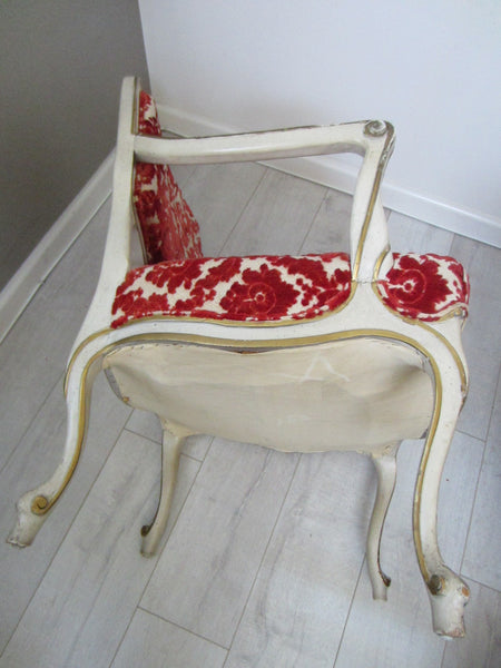 French Hibriten Arm Chair Floral Fabric Gilt Decoration - Designer Unique Finds   - 2