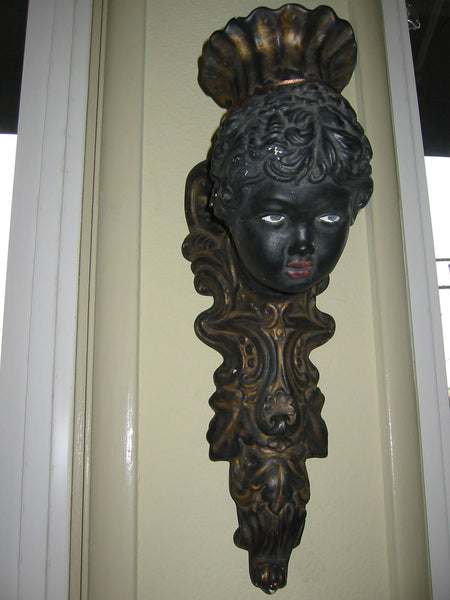 Italian Bust Wall Sconce Charcoal Gold Decorated Black Portrait Candle Holder - Designer Unique Finds   - 12