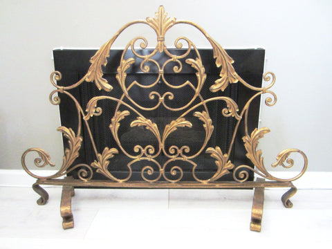 Tole Fireplace Screen Golden Metal Scrolled Crest Wrought Iron Leaves - Designer Unique Finds   - 1
